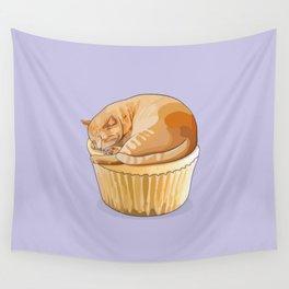 Orange Tabby Cat Cupcake Wall Tapestry