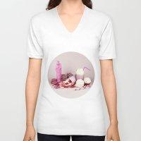 macaroon V-neck T-shirts featuring Sweet pink doom - still life by josemanuelerre