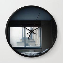 New York, New York. Fog Through a Hotel Room Window. Wall Clock