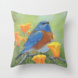 Western Bluebird Throw Pillow