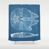 millenium falcon Shower Curtains featuring Millennium II by Vickn