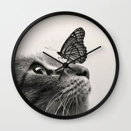 Butterfly on a cat's nose Wall Clock