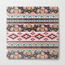 Floral Aztec Tribals Metal Print