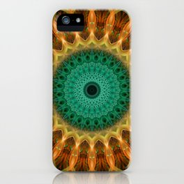 Mandala with green, brown and golden ornaments iPhone Case