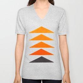 Vintage Scandinavian Orange Geometric Triangle Pattern Unisex V-Neck