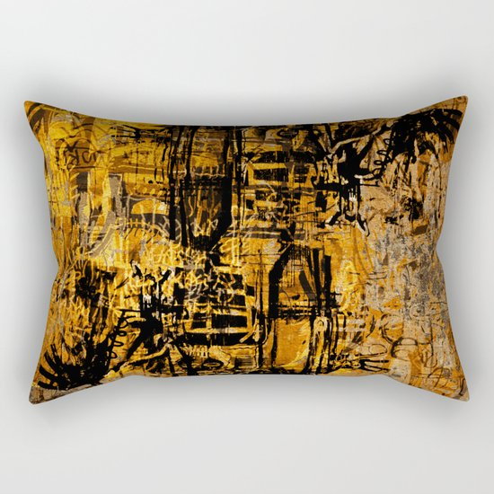 Thinking Yellow Rectangular Pillow