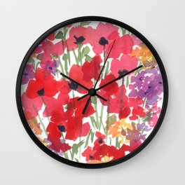 Little Red Poppy Patch Wall Clock