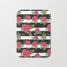 Red roses with horizontal stripes black white Bath Mat