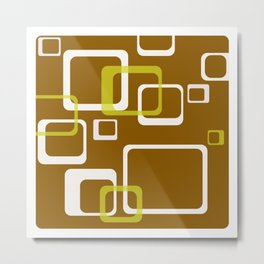 70s Brown&wellow Round rectangles Metal Print