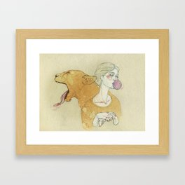 The lady and the lion. Framed Art Print