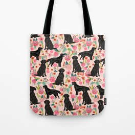 Flat Coated Retriever dog breed pet art dog floral pattern gifts for dog lover pet friendly Tote Bag