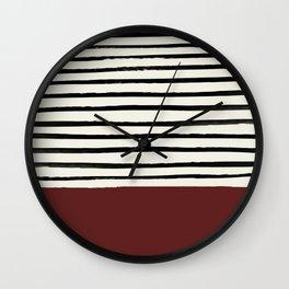 Dark Ruby & Stripes Wall Clock