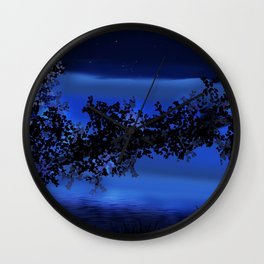 Dusk by the water Wall Clock