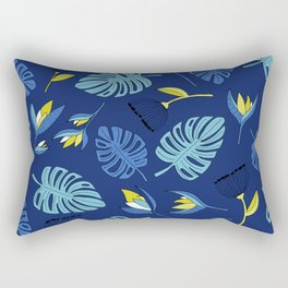 Tropical forest jungle monstera flowers pattern Rectangular Pillow