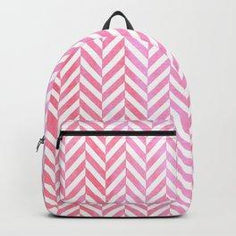 Watercolor Herringbone Chevron pattern - pink on white Backpack