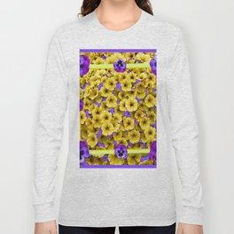 YELLOW PETUNIAS & LILAC PURPLE PANSIES FLORAL Long Sleeve T-shirt