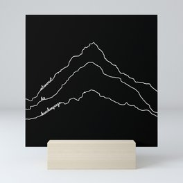 Tallest Mountains in the World / Mt Everest K2 Kanchenjunga / B&W Minimalist Line Drawing Art Print Mini Art Print