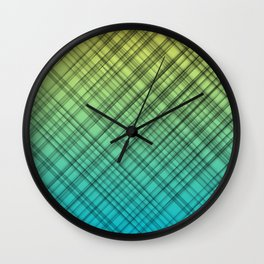 Unique lines background.  Lime green and light blue color tones. Wall Clock