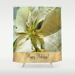 Pale Yellow Poinsettia 1 Happy Holidays S2F1 Shower Curtain