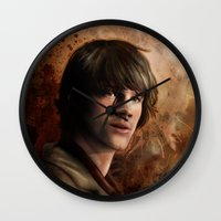 sam winchester Wall Clocks featuring Sam Winchester by Jackie Sullivan