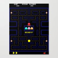 pac man Canvas Prints featuring Pac Man by Trash Apparel