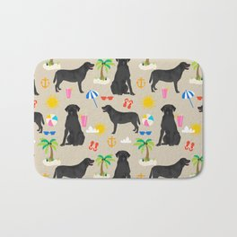 Black Lab labrador retriever dog breed beach summer vacation dog gifts Bath Mat