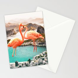 Collage, Flamingo, City, Creative, Nature, Modern, Trendy, Wall art Stationery Cards