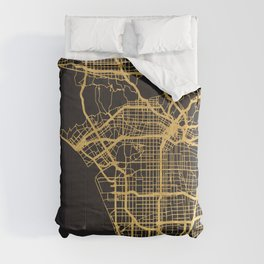 LOS ANGELES CALIFORNIA GOLD ON BLACK CITY MAP Comforters