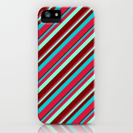Aquamarine, Maroon, Dark Turquoise, and Crimson Colored Lines/Stripes Pattern iPhone Case