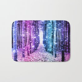 Magical Forest : Aqua Periwinkle Purple Pink Ombre Sparkle Bath Mat