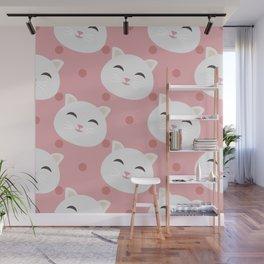 Cute white cat Wall Mural