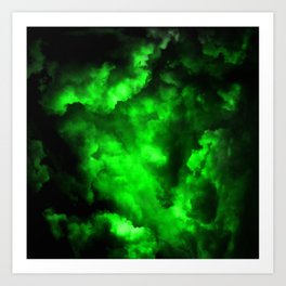 Envy - Abstract In Black And Neon Green Art Print