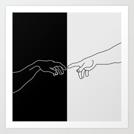 Hands of God and Adam- The creation of Adam Art Print