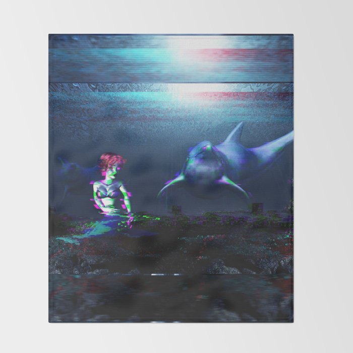 Glitch dolphins and mermaid Throw Blanket