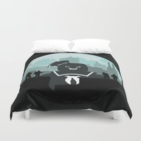 ghostbusters Duvet Covers featuring Ghostbusters versus the Stay Puft Marshmallow Man by kamonkey
