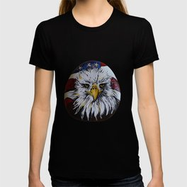 American Bald Eagle and American Flag on a rock by annmariescreations T-shirt