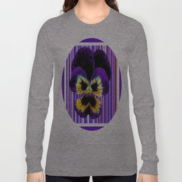 Contemporary Purple Violet Flower Abstract Design Long Sleeve T-shirt