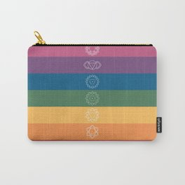 Seven Chakra Mandalas on a Striped Rainbow Color Background Carry-All Pouch
