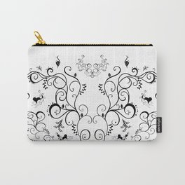 Abstract black floral ornament Carry-All Pouch