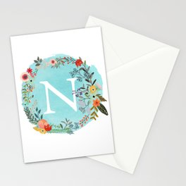 Personalized Monogram Initial Letter N Blue Watercolor Flower Wreath Artwork Stationery Cards