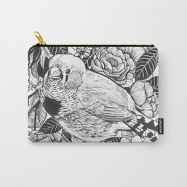 Zebra finch and rose bush ink drawing Carry-All Pouch