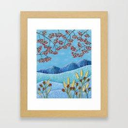 Winter Mountain Colorful Fields Framed Art Print
