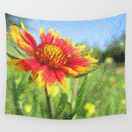 Red Flower in a Field Wall Tapestry