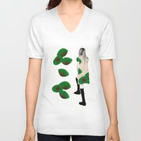 cara V-neck T-shirts featuring Cara by Melania B