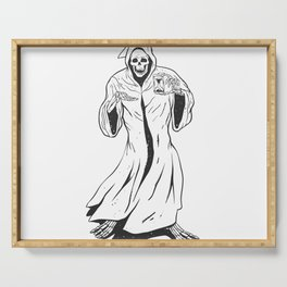Grim reaper holding an hourglass -  black and white Serving Tray