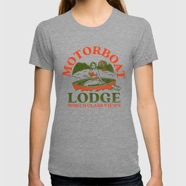 Motorboat Lodge: World Class Views. Funny Retro Pinup Girl In A Canoe T-shirt