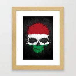 Flag of Hungary on a Chaotic Splatter Skull Framed Art Print