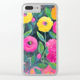 Yellow and Pink Flowers with Dark Background, Floral Painting, Flowers at Midnight Clear iPhone Case