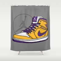 lakers Shower Curtains featuring Jordan 1 mid (LA Lakers) by Pancho the Macho