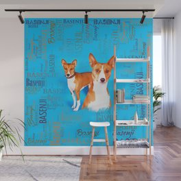 Basenji dogs  with Word cloud Pattern Wall Mural
